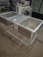Ванна моечная 2-х секционная с рабочей поверхностью 1200*600 мм БУ