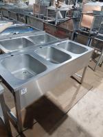 Ванна моечная 3-ух секционная с бортом 1600*600 мм (нержавеюшая сталь) БУ